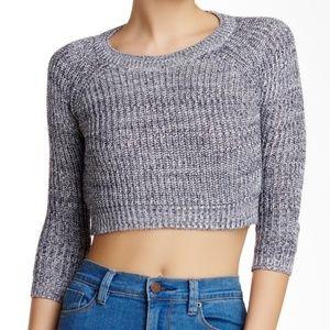 Poof Gray/Navy Knitted Marled Raglan Crop Sweater